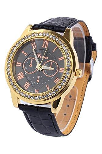 Geneva Black Leather Watch - 4