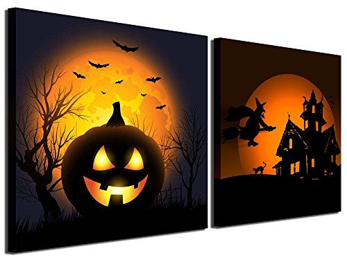 Gardenia Art - Happy Halloween Canvas Prints 2 Pumpkin Lantern Wall Art Paintings Abstract Wall Artworks Pictures for Living Room Bedroom Decoration, 12X12 inch, 2 Panels