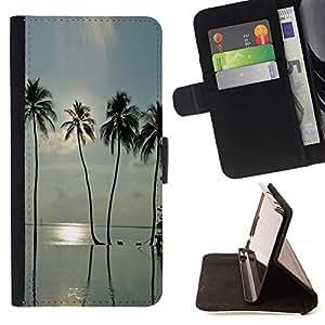 For Motorola Moto E ( 1st Generation ) Case , Sea Summer Sun Surf Miami- la tarjeta de Crédito Slots PU Funda de cuero Monedero caso cubierta de piel