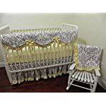 Nursery-Bedding-Baby-Girl-Crib-Bedding-Set-Brooke-in-Yellow-Scalloped-Crib-Rail-Cover-Bumperless-Crib-Bedding-White-and-Gray-Damask-with-Light-Yellow-Baby-Bedding-Choose-Your-Pieces