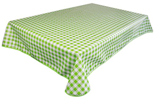 Lavin Tablecloth PVC Wipe Clean Checker Pattern Table Cloth Waterproof Edge Finished Oil Cloth Heavy Duty Vinyl Table Cover Rectangle Oilproof Satin-Resistant Home Decoration (Green) ()