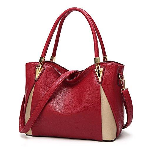 SYGoodBUY Bolso elegante de la mujer del bolso de mano de la moda del bolso de mano Bolso elegante de la capacidad grande del bolso de mano para el curso del recorrido Vino Rojo