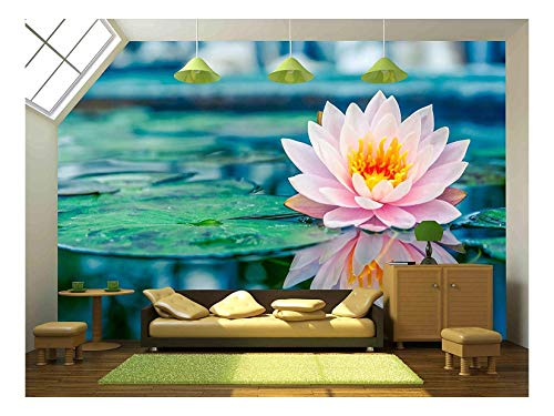 wall26 - Beautiful Pink Lotus in a Pond - Canvas Art Wall Mural Decor - 66