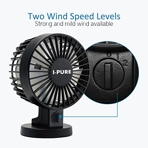 USB Table Desk Personal Fan Mini USB Personal Table Desk Fan Portable Small Quiet Fan 2 Speed Modes Dual Blades Simulate Natural Wind for Room Office Desktop for Home Office Table Color : Black