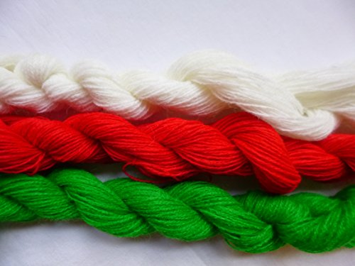 Red Green White Christmas Holiday Thin Fingering / Lace Weight Knitting Crochet Yarn