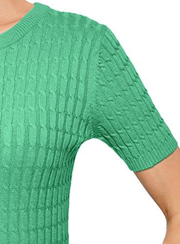 Maglione Maniche Trecce Oodji Donna Con Verde Ultra A 6501n Corte YfIfEx6q