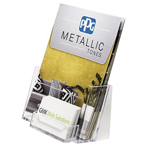 Clear-Ad - Acrylic Slant Back Bifold Brochure Holder 6x9 with Business Card Pocket - Plastic Half Page Booklet, Catalogue, Letterhead, Flyer, Postcard, Pamphlet Display Stand - LHF-P110 (Pack of 4)