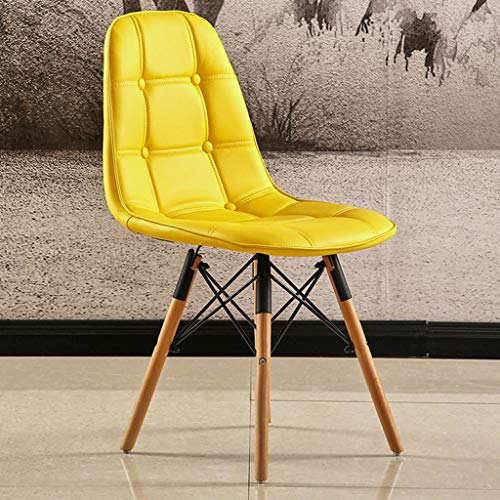 Zcxbhd Eiffel Chairs Retro Style Simple Modern Dining Creative PU Lounge Chair for Office Lounge (Color : Yellow)