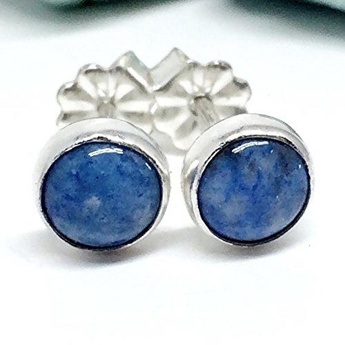 Lapis - Denim Lapis Studs in Sterling Silver Studs with Gemstones Blue Post Earrings