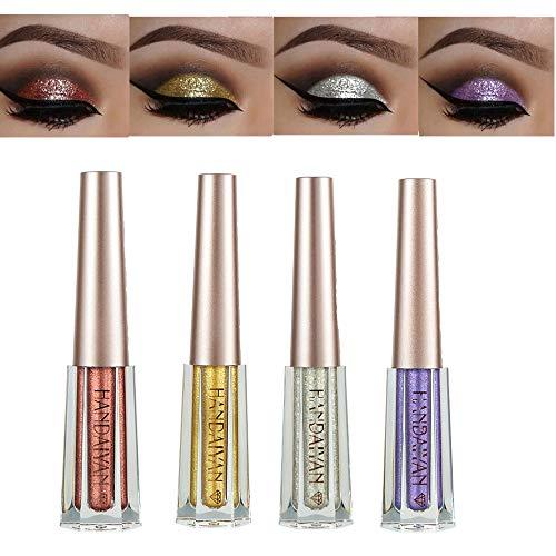 Diamond Liquid Eyeshadow 4 Colors Glitter Shimmer Eyeshadow Deep Stereoscopic Long Lasting Liquid Eyeshadow Set Matte Eye Shadow Sparkling Shimmer Eyes Makeup for Women Girl (4 Color B)