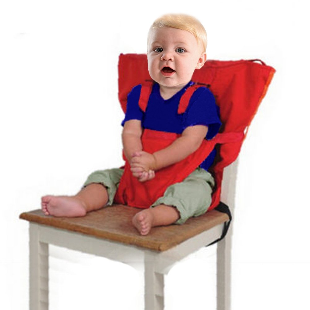 Baby Portable High Chair Seats Cover Safety Harness Toddler Foldable Safety Sack Belt, Orange Gude Trading Co. Ltd