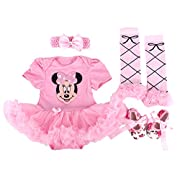 Baby Rae Clothing 4 in 1 Set: Skirt Shortall+Head Band+Legging Socks+Shoes