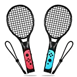 Tennis Racket for Nintendo Switch, Yocktec Tennis Racket for Joy-Con Controllers Game Mario Tennis Aces - Twin Pack (Black)