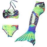 ChicChic Girl 3Pcs Mermaid Tail Swimmable Tankini Set Bathing 2018 Summer Swimwear Cosplay 3-10Y