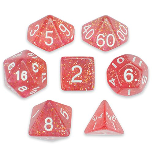 Wiz Dice 7 Die Polyhedral Dice Set - Royal Bubblegum (Pink Glitter) with Velvet - Velvet Bubble Gum