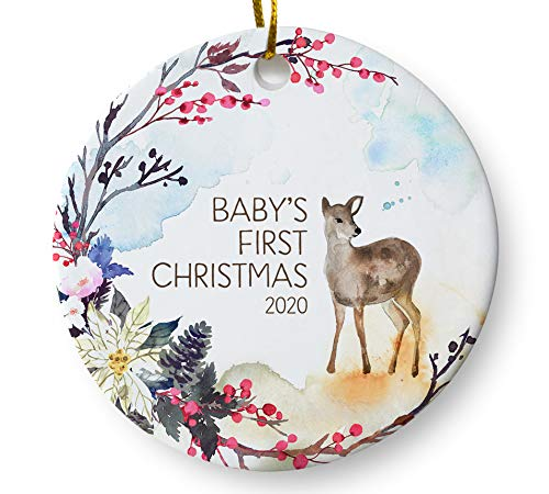 First Christmas 2020 Amazon.com: Baby's First Christmas Ornament 2020, Woodland Deer
