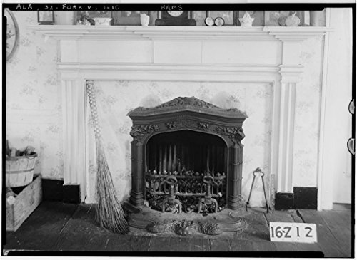 8 x 12 Photo 10. Historic American Buildings Survey Alex Bush, Photographer, December 28, 1934 Fireplace - Bedroom - 2D Floor - Rosemount, County Road 19, Forkland, Greene County, AL 1858 01a by Vintography