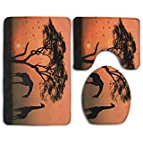 DING Giraffes Africa Tree Soft Comfort Flannel Washroom Mats,Non-Slip Absorbent Toilet Seat Cover Bath Mat Lid Cover,3pcs/Set Rugs