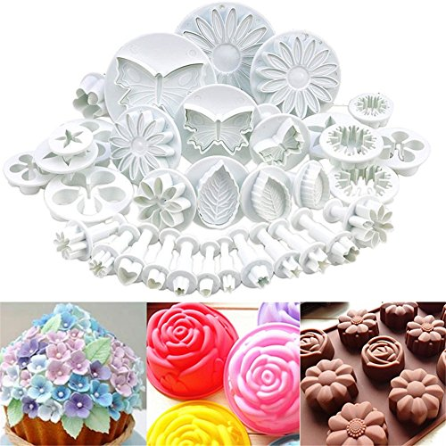 Tools Fondant Plunger Cutter Mold Set Flower Leaf Butterfly Heart Shape Cookie Chocolate Sugarcraft Baking Embossing Moulds Cake Decoration Tools (Butterfly Leaf Chocolate)