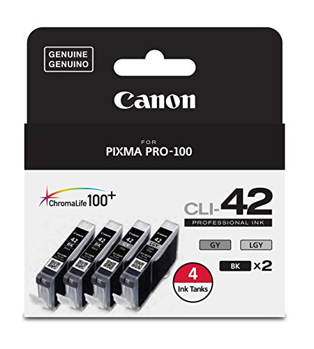 - Canon CLI-42 ChromaLife Value Pack (2 Photo Black, 1 Gray & 1 Light Gray) for Pixma Pro-100