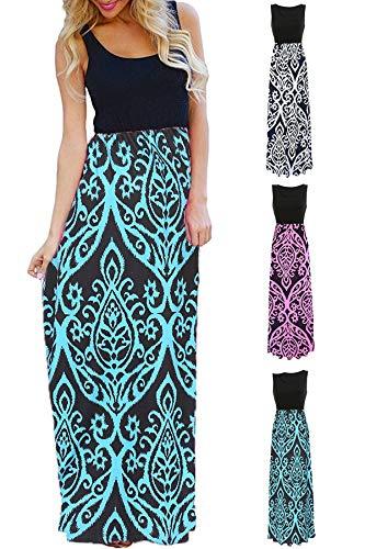 (Womens Tank Top Long Maxi Dresses Summer Boho Empire Chevron Tank Top Casual Beach Dresses (D-Blue, Medium(US 8-10)))