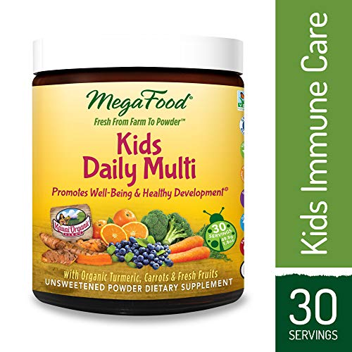 MegaFood - Kids Daily Multi Booster, Multivitamin Support for Well-Being and Healthy Development with Organic Turmeric and B Vitamins, Gluten-Free, Non-GMO, 30 Servings (1.8 oz)