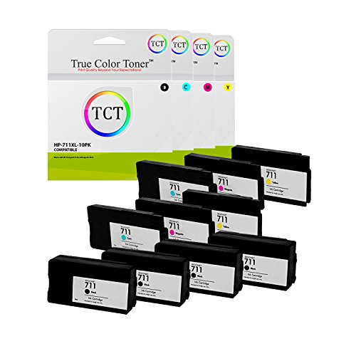 True Color Toner 711XL 10 Pack BCMY High Yield Compatible Ink Cartridge 711 XL Replacement for HP DesignJet T120 T520 Printers (CZ133A Black, CZ130A Cyan, CZ131A Magenta, CZ132A Yellow) (29a Color Print Cartridge)