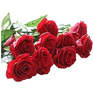 simulation roses - SODIAL(R)10 pcs Latex Real Touch Rose Decor Rose Artificial Flowers Silk Flowers Floral Wedding Bouquet Home Party Design Flowers£¨red£ 73