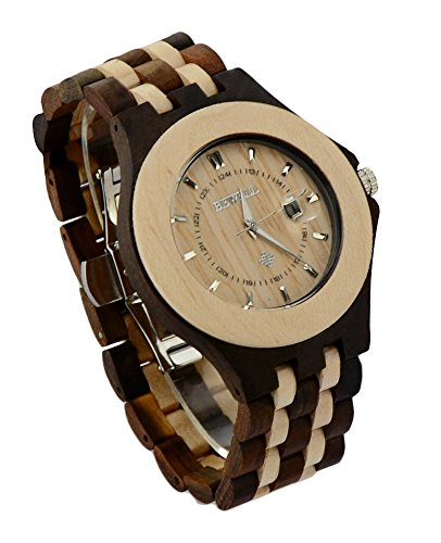 Ideashop Men's Maple and Black Sandal Wood Quartz Watch Big Analog Wristwatches With Date Calendar Luxruy Present...