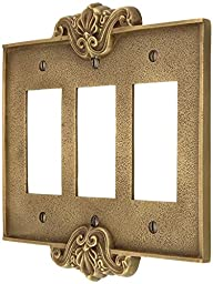 Art Nouveau Triple Gfi Cover Plate In Antique-By-Hand Finish. Switchplate.