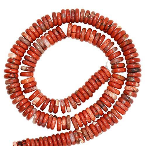 "FidgetKute New 3x8mm Natural Gemstones Heishi Beads 7.5"" Agate&Tiger Eye&Carnelian Red Flower JasperRed Flower Jasper"