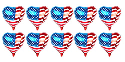 SummitLink Pack of 10 American Flag Balloons PE Helium Foil Balloon Mylar (Heart Shaped 20'')