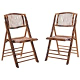 2 Pcs Bamboo Folding Chairs Patio Garden Wedding Party Outdoor Furniture