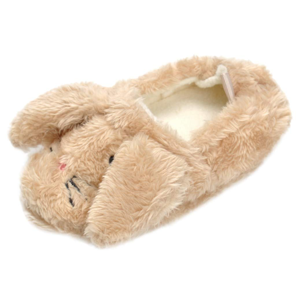 KONFA Little Kids Soft Sole Fluffy Slippers Indoor Boots for Baby Girls Boys Cartoon Rabbit Home Keep Warm Crib Shoes KONFA_Children Shoes