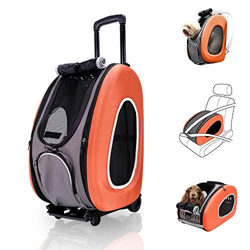 - ibiyaya 4 in 1 Pet Carrier + Backpack + CarSeat + Carriers on Wheels for Dogs and Cats (Orange)