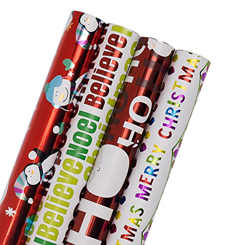 WRAPAHOLIC Christmas Wrapping Paper Roll - HO HO HO, Santa, Merry Christmas, Snowman Christmas Gift Wrap Design with Foil Icons - 4 Rolls - 30 inch X 120 inch Per Roll