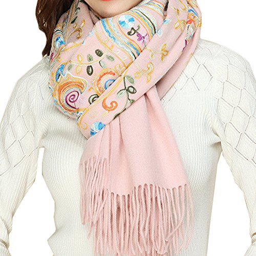 TLH Women's Exotic Design 100% Wool Delicate Embroidered Soft Scarf Wrap Shawl (Pink)