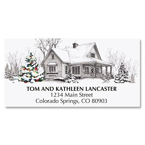 Winter Home Personalized Christmas Address Labels - Set of 48, self-stick