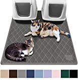 Gorilla Grip Original Premium Durable Multiple Cat Litter Mat - 47x35 - XL Jumbo - No Phthalate - Water Resistant - Traps Litter from Box and Cats - Scatter Control - Mats Soft on Kitty Paws - Gray