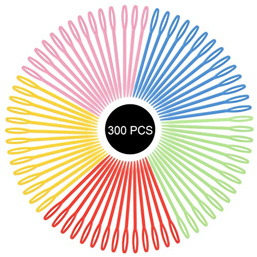 300 Pieces Safety Plastic Sewing/Lacing Needles for Crochet Darning Sewing Handmade Crafts(Random Color)