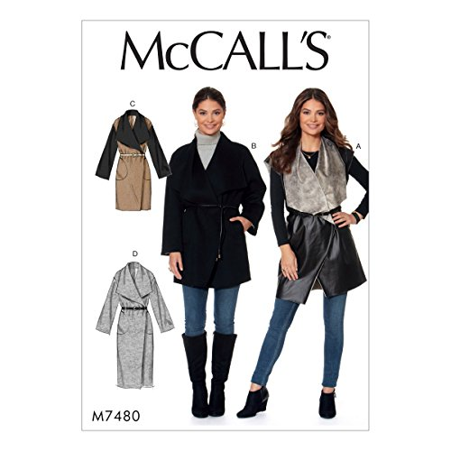 McCall's 7480 (SIZE 16-26) Misses' Shawl Collar, Wrap Vest and Coats (Mccall Winter Coat Patterns)