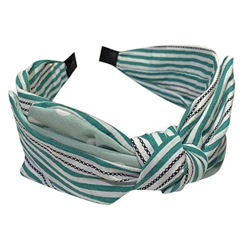 Iusun Headband Striped Wave Point Cross Tie Wide-Brimmed Hairpin Accessory Women Sweet Girls Beach Hair Care Jewelry Decoration Hairband