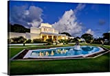 greatBIGcanvas Gallery-Wrapped Canvas entitled Laie Hawaii Temple, Fountain, Laie, Hawaii by Scott Jarvie 24''x16''