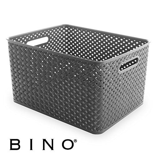BINO Woven Plastic Storage Basket, X-Large (Grey) (Storage Essentials Bin Room)