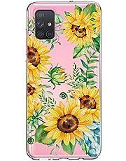 Oihxse Cristal Funda para Samsung Galaxy A40s Transparente Suave TPU Flores Girasoles Amarillos Dibujo Diseño Serie Carcasa Flexible Bumper Anti-Choque Anti-Arañazos Protector (D1)