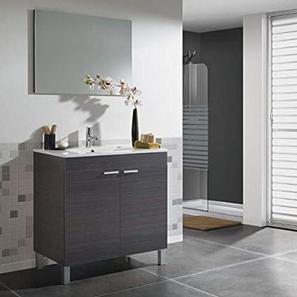 SERMAHOME- Conjunto de Baño modelo Gran Classic. Mueble de Lavabo + Espejo + Lavabo. Color Blanco Brillo. Medidas Mueble Lavabo: 80 cm alto x 80 cm ancho x 45 cm fondo. Medidas Espejo: 80 cm alto x 58 cm ancho.