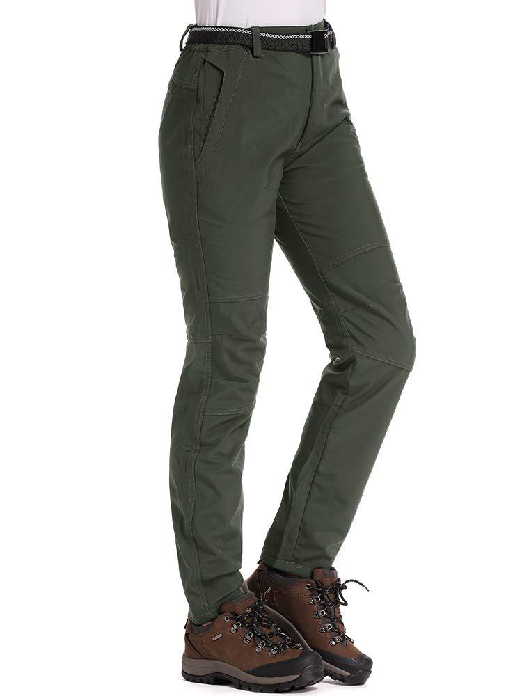 Jessie Kidden Womens Fleece-Lined Soft Shell Hiking Fishing ski Pants Insulated Waterproof Wind Resistant Mountain Trousers,5088F,Army Green,US S by Jessie Kidden