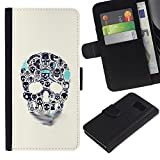 UPPERHAND ( Not For S6 EDGE ) Stylish Image Picture Black Leather Bags Cover Flip Wallet Credit Card Slots TPU Holder Case For Samsung Galaxy S6 SM-G920 - blue beige skull teal death tattoo ink