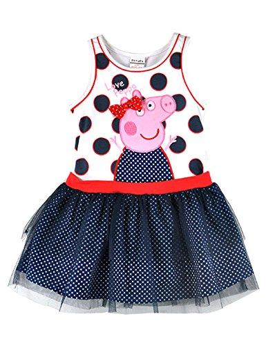 [LaLaMa Little Girls' Pink Style Peppa Pig Princess Costume Tutu Dress Skirt 3-4Y] (Little Pig Costumes)