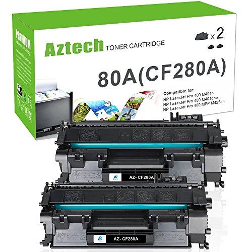 Aztech Compatible for HP Laserjet 80A CF280A Toner Cartridge Replacement for HP Laserjet Pro 400 Toner HP M401n M401dne Toner HP Laserjet Pro 400 MFP M425dn Toner Printer ( Black , 2-Pack)